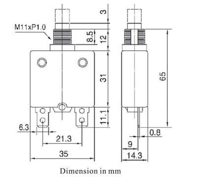 Philmore 3 Amp Push Button Manual Reset Thermal Circuit Breaker 50V DC, 250V AC 5