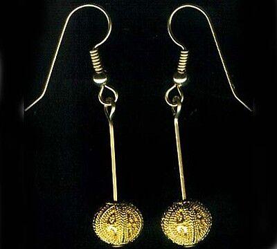 Gold Earrings Antique Russian 22kt Near East Crete Minoan Greek Granulated Style 3