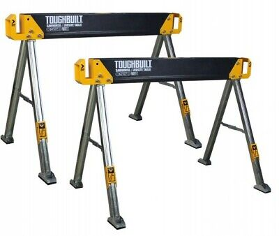 2x ToughBuilt TOU-C300 C300 Heavy Duty Folding Saw Horse Trestle Twin Pack