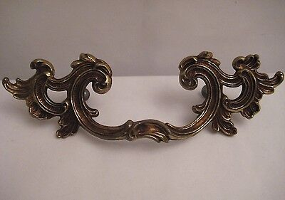 Ornate Antiqued Brass Drawer Handles / Pulls - Set Of 6 / Vintage 2