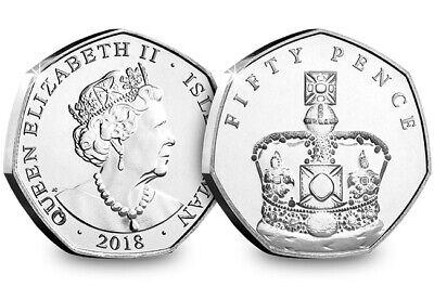 UNC Isle Of Man 2018 Sapphire Crown Set Of 5 X 50p 3