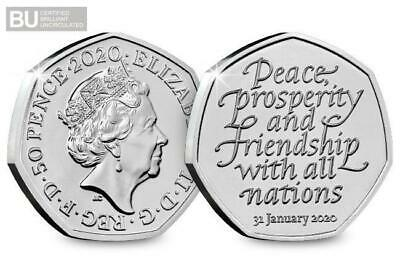 BREXIT 50P UNCIRCULATED from sealed bag CHRISTMAS 2020 GREETING CARD 3