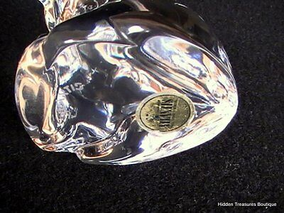 Atlantis Hand Made Crystal Art Glass Hound Dog Paperweight Figurine Signed 4