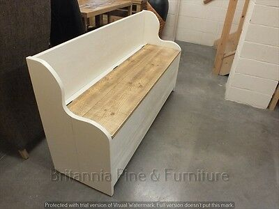 5' Painted Shabby Low Monks Bench Seat Settle Pew Storage Distressed Sawn 2