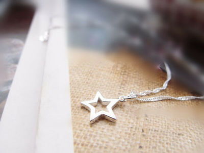 Shiny 925 Sterling Silver PLT Hollow Cut Out Star Pendant Necklace Lady Girl UK 2