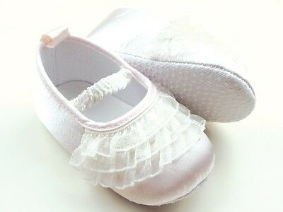 NEW Baby Girl White Lace Ruffles Christening Ballerina Shoes 6-12 months Size 4 3