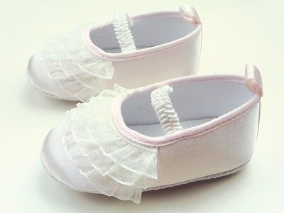 NEW Baby Girl White Lace Ruffles Christening Ballerina Shoes 6-12 months Size 4 2