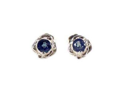 Blue Sapphire Earrings ¾ct+ Antique 19thC - Medieval Ram Gem Stopped Black Magic 9