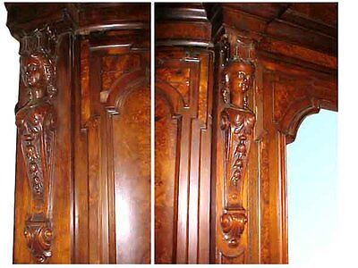 Antique Victorian Armoire with Beveled Mirror #5074 3