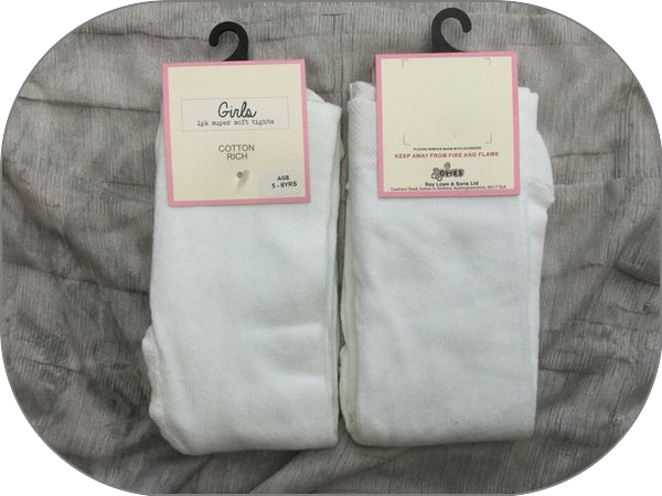 ALL AGES 0 TO 14 YEAR Girls WHITE Super Soft warm Cotton rich Tights Xstore bnwt 2
