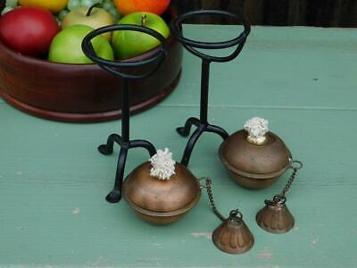Pair Of Vintage Arts & Crafts Styled Copper & Iron Candlesticks Burners 4