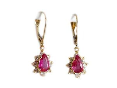 Gold Pink Tourmaline Earrings 1½ct Antique 19thC Gem of China Last Empress 14kt 3