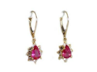 Gold Pink Tourmaline Earrings 1½ct Antique 19thC Gem of China Last Empress 14kt 6