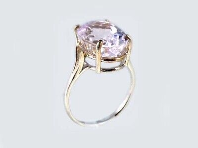 19thC Antique 10ct Afghani Kunzite Gold Ring Ancient Good Luck Symbol of Purity 8