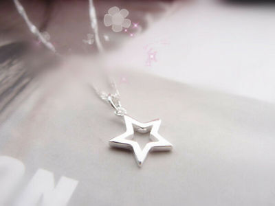 Shiny 925 Sterling Silver PLT Hollow Cut Out Star Pendant Necklace Lady Girl UK 3