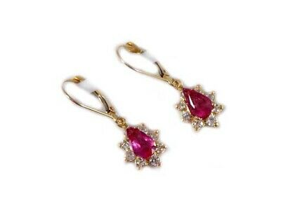 Gold Pink Tourmaline Earrings 1½ct Antique 19thC Gem of China Last Empress 14kt 5