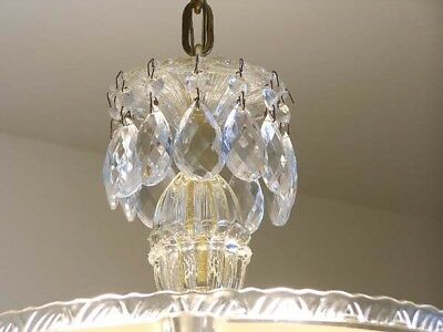 358 40's Vintage Antique Ceiling Light Lamp Fixture Glass Chandelier Re-Wired 6