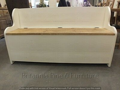5' Painted Shabby Low Monks Bench Seat Settle Pew Storage Distressed Sawn 9