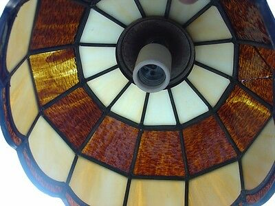 Vintage Stained Leaded Slag Glass PARLOR Lamp Amber & Opal Color Tiffany Style 8
