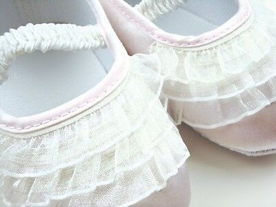 NEW Baby Girl White Lace Ruffles Christening Ballerina Shoes 6-12 months Size 4 4