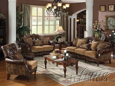 4 Of 5 Dreena Traditional 2pc Sofa Loveseat Chenille Living Room Furniture Formal