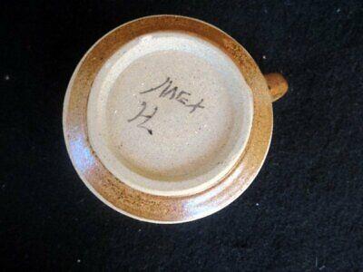 Netzi Mexican Tonala Art Pottery Creamer Hand Painted Sandstone Enameled 4