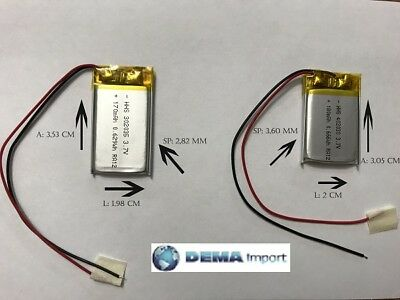BATTERIE al polimeri di litio a celle 3,7 volt per varie mAh droni modellismo 4