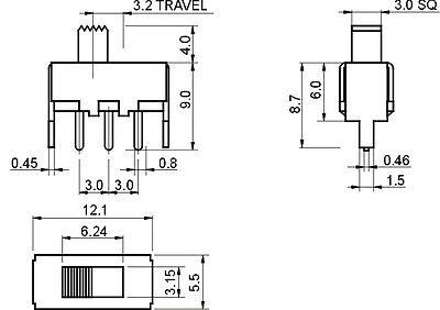 50pcs ss12f44g4 3 pin dip 2 position spdt 1p2t vertical slide 50pcs ss12f44g4 3 pin dip 2 position spdt 1p2t vertical slide switch 4