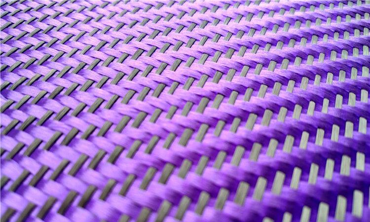Black+ Purple Aramid Carbon Fiber Blended Fabric Carbon Fixed cloth Twill weave 2
