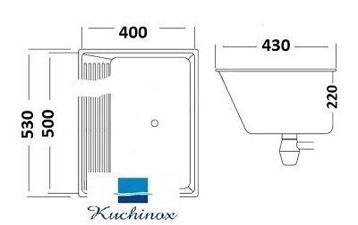 Edelstahl Ausgussbecken 63x53x25  Waschbecken  Keller Waschküche Werkstatt Spüle