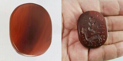 Old Sassanian Agate Intaglio Stone Bead with Symbol #A108 2