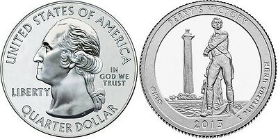 2013 5xP & 5xD Perry's Victory Memorial OHIO STATE NATIONAl PARK 25¢ BU MS MINT 2