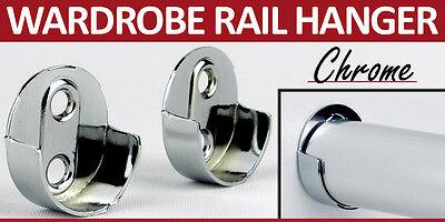 2 White Wardrobe Rail Hanger Rod Fitting Standard End Support Tube Oval Bracket