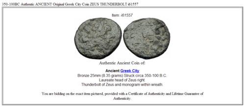 350-100BC Authentic ANCIENT Original Greek City Coin ZEUS THUNDERBOLT i61557 3