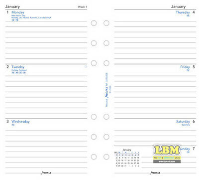 Filofax 2019 Personal size Diary - Week On Two Pages with Lines Refill I9-68418 2