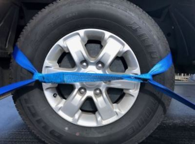 (4 Pack) Load Restraint, Car Carrying Strap With Loops, Wheel Strap, Towing