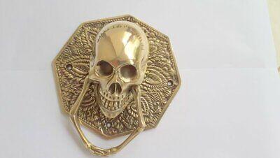 "heavy SKULL door KNOCKER head ring pull Handle pure brass 4"" day dead polished B 4"