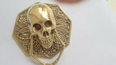 """door KNOCKER HEX head ring pull Handle pure brass 4"""" day of the dead polished 2"""