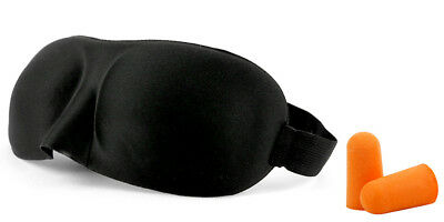 2x Travel 3D Soft Sleeping Eye Mask Blindfold Earplugs Shade Relax Sleep Cover 2