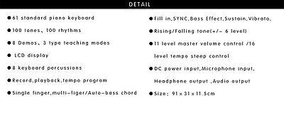 Piano Combo Stand + 61 Keys Electronic keyboard/Electric Piano/Power Adaptor 7