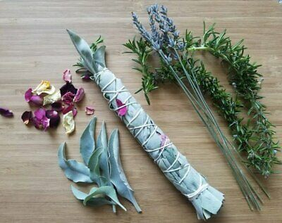 Smudge Stick *Handmade *White Sage,Rosemary,Lavender & Rose *Cleansing *Soothing 3