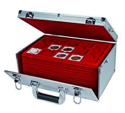 Look Alluminio Valigia per Monete Gigante 15 Tableaux Rosso 60 Scompartimenti 11