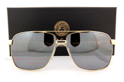 NWT Versace Men Sunglasses VE2174 1002Z3 Polarized Gold//Grey Silver Mirror 59mm