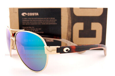 New Costa Del Mar Sunglasses LORETO Rose Gold Tortoise Green Mirror 580P Polar