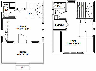 16X16 TINY HOUSE -- 492 sq ft -- PDF Floor Plan -- Model 3A