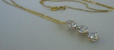 14K YELLOW GOLD LADIES 3 DROP CHAIN NECKLACE PENDANT W/ 3 ct DIAMOND 2