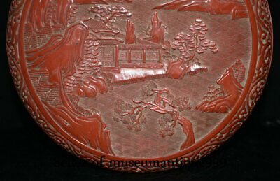 """9.6"""" Marked Old China Red Lacquerware Dynasty Hill River House jewelry Box 5"""