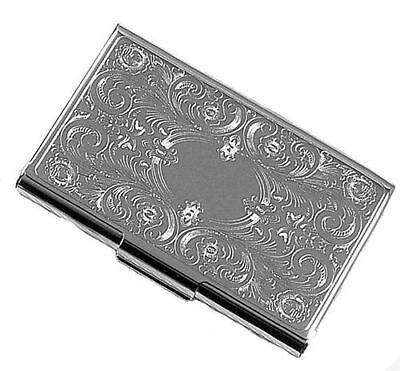 Florentine silver business card holder card case custom engraved 1 of 4 florentine silver business card holder card case custom engraved free colourmoves