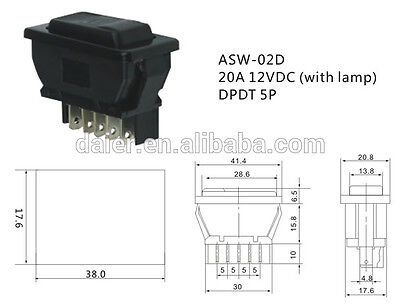 Momentary 20A 12VDC ASW-02D with lamp Car Electric Window Switch Up Down