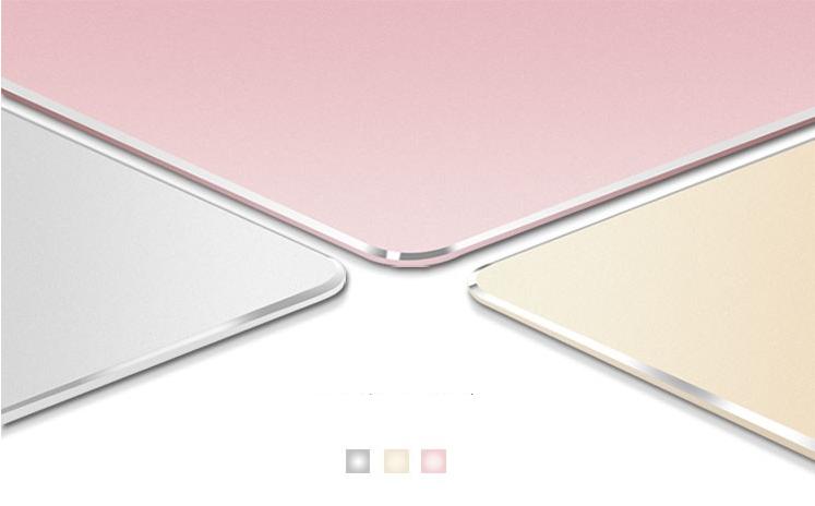 gaming Mauspad Mousepad Doppelseitig Aluminium Leder Metall rund silber gold 6